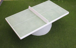 round base table tennis table on artificial grass