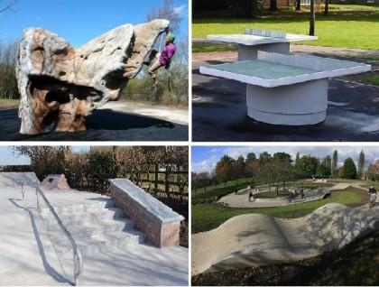 Concrete Table Tennis Table Skatepark Climbing Boulders Scooterpark