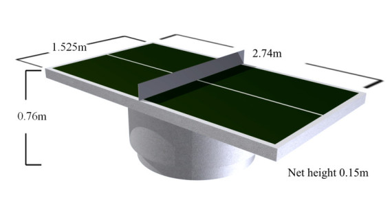 dimensions of outdoor table tennis tables