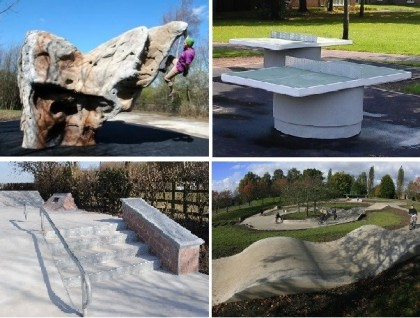 Concrete Table Tennis Table Skatepark Climbing Boulders Scooterpark